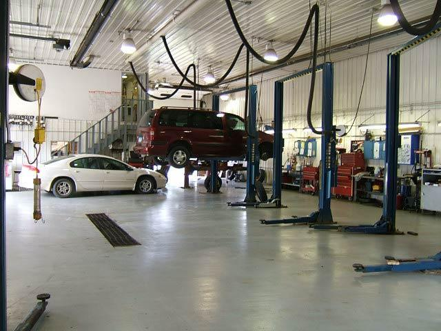 car service area at cannon auto repair, cannon falls, mn